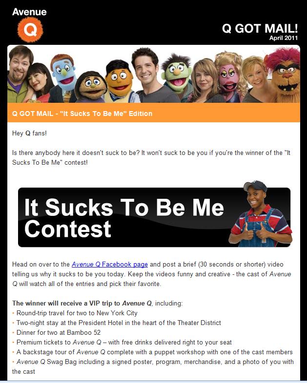 Avenue Q Email Contest