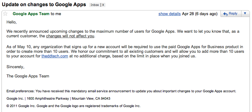 Google Apps Email Changing User Count to 10